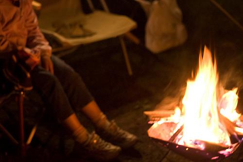 焚火でホッと一息